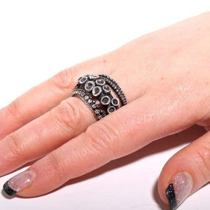 sterling silver Double Octopus ring - Zulasurfing Jewelry  - 3