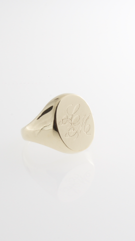 Personalized Signet Oval Ring