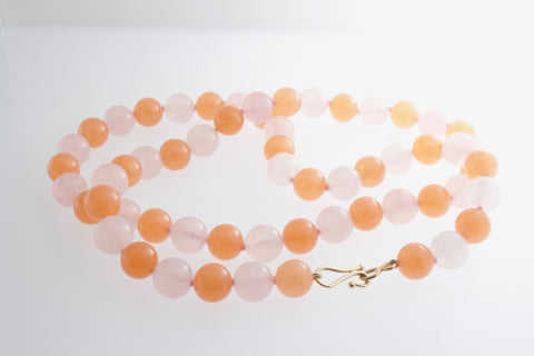 Rose and Orange Quartz necklace