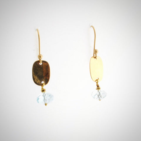 Aquamarine and Pebble Earrings