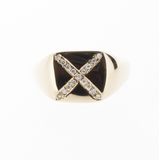 Signet Diamond X Ring