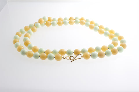Honey Jade and Lemon Chrysoprase necklace