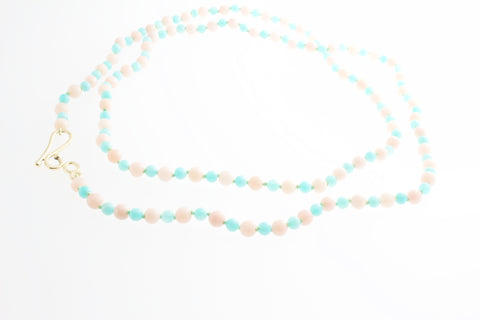 Blue Amazonite and Pink Opal Necklace