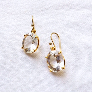 Oval White Topaz Earrings
