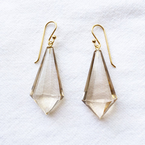 Champagne Quartz Fan Earrings