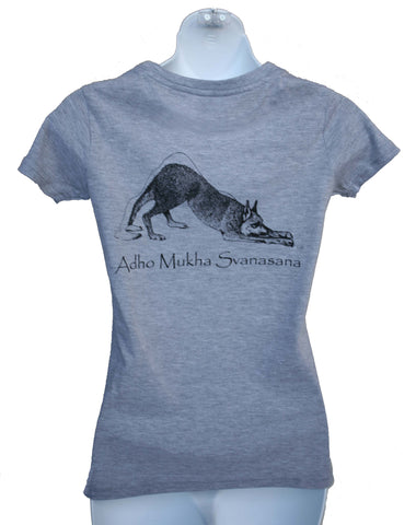 Adho Mukha Svanasana Ladies Slim Fit T-shirt Back Print Grey Marl