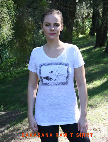 Bakasana Ladies White Raw T-shirt