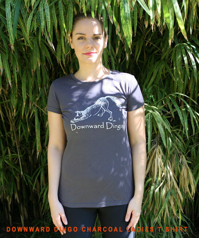 Downward Dingo charcoal Tee Ladies