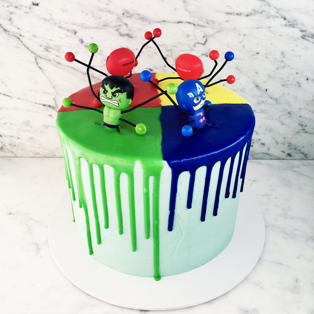 superhero-colourful-drip-cake