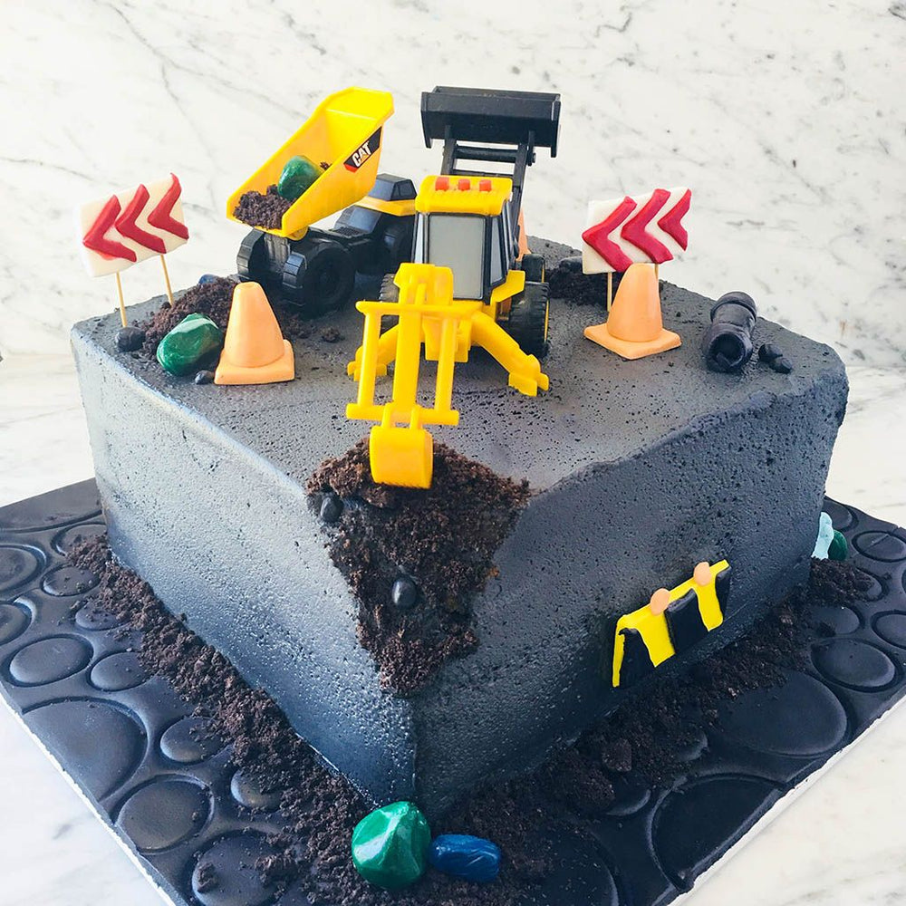 Tonka Builder Construction Site Cake with Monster Truck Cake
