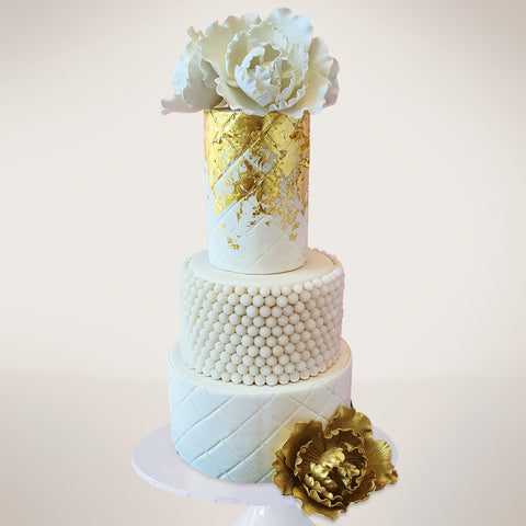 Gold and Pearl Fondant Floral Wedding Cake