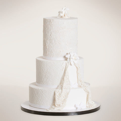 Formal Three-Tier Lace Wedding Cake