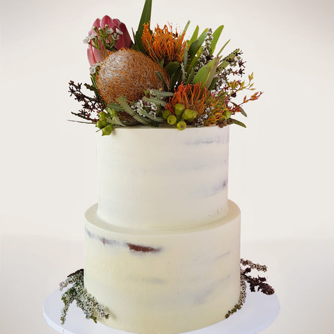 Two-tier Australian Natives Floral Wedding Cake