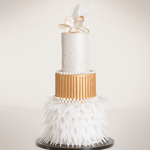 Piped Feathered Lace Fondant Wedding Cake