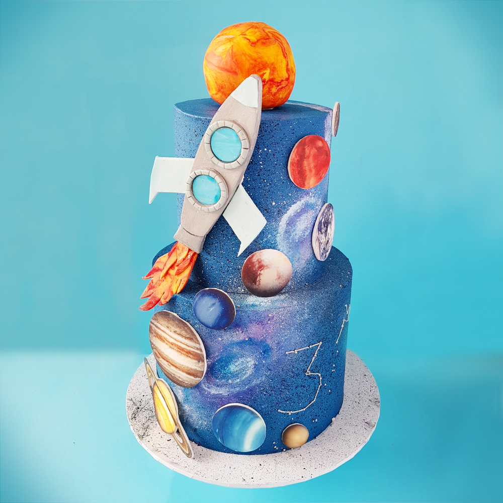 Planets, Space, Stars, and Rocket Cake
