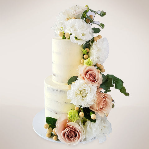 Two-tier Semi-Naked Floral Wedding Cake