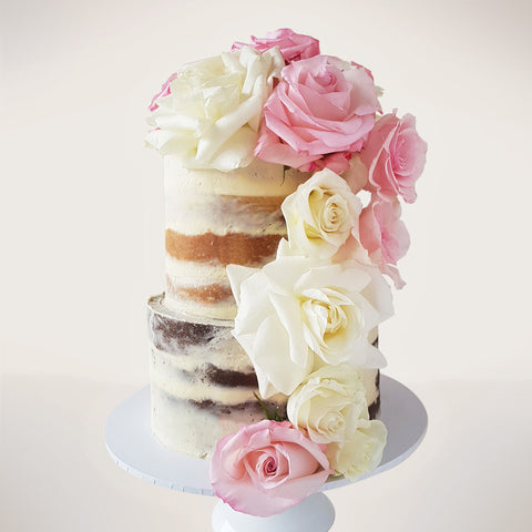 Two-tier Semi-Naked Rose Cake