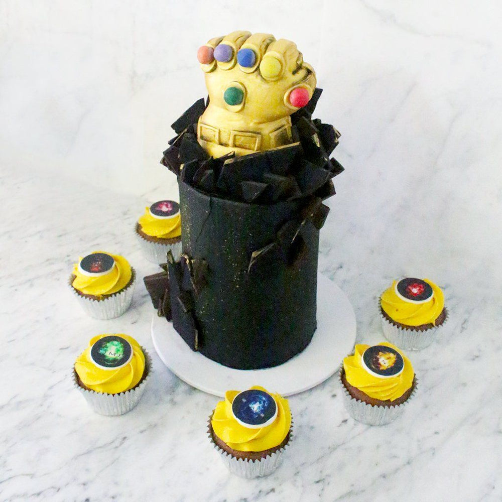 Thanos Infinity Gauntlet Cake with Infinity Stone Cupcakes