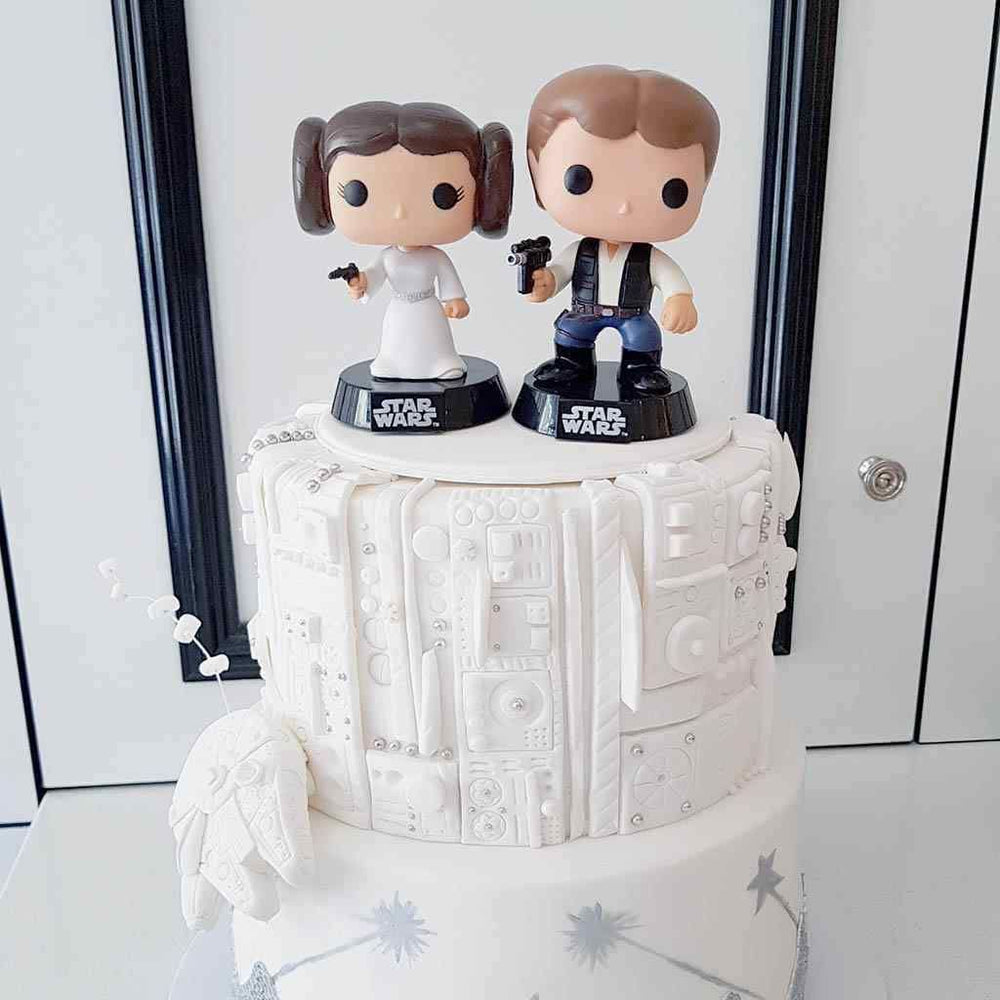 Star Wars Millennium Falcon Cake with Princess Leia and Hans Solo Toppers