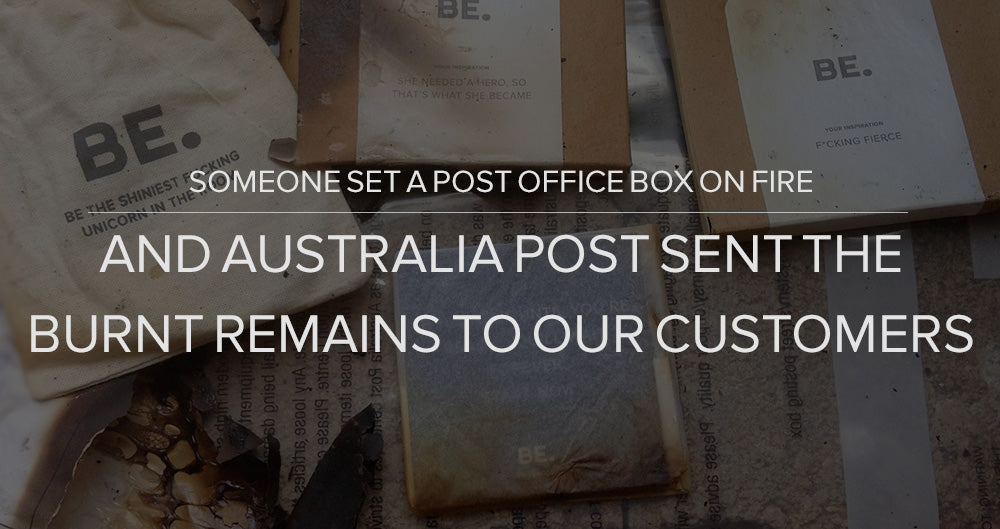 Someone set a post office box on fire, and Australia Post sent the burnt remains to our customers