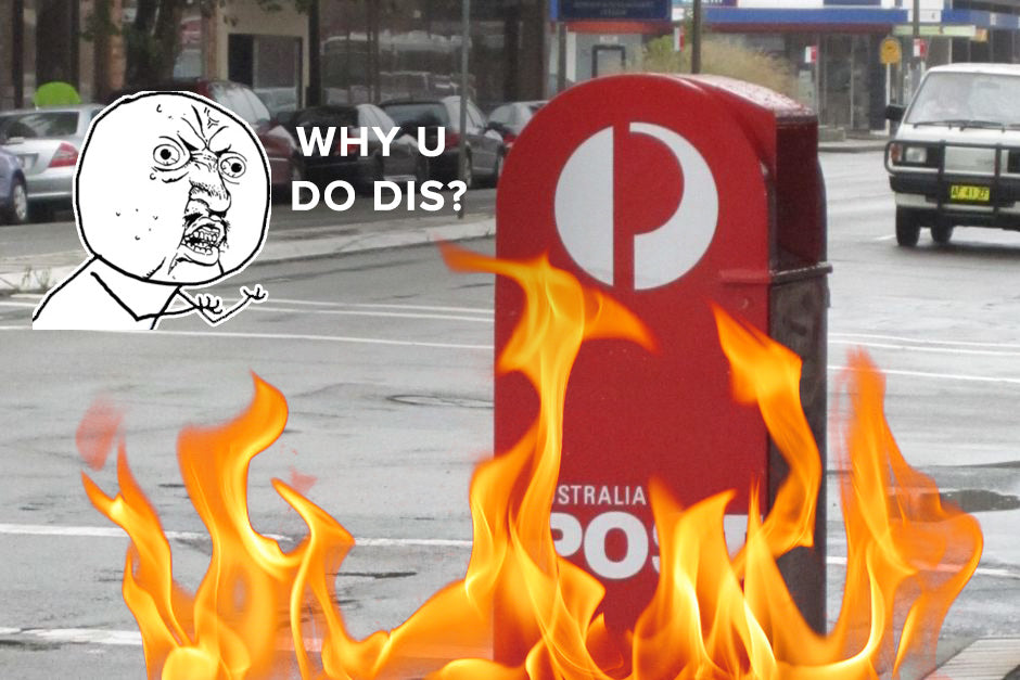 Australia Post Box Set On Fire