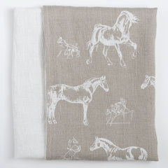 Soft Linen Pillowcases Horses - Linen Room Latvia
