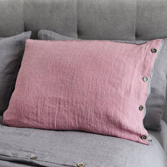 Luxury Linen Old Rose/Anthracite Gray Pillow Case With/Without Buttons
