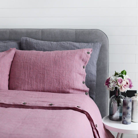 Luxury Old Rose Soft 100% Linen Duvet Cover with Buttons