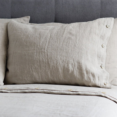 Luxury Natural Linen Color Pillow Case With/Without Buttons