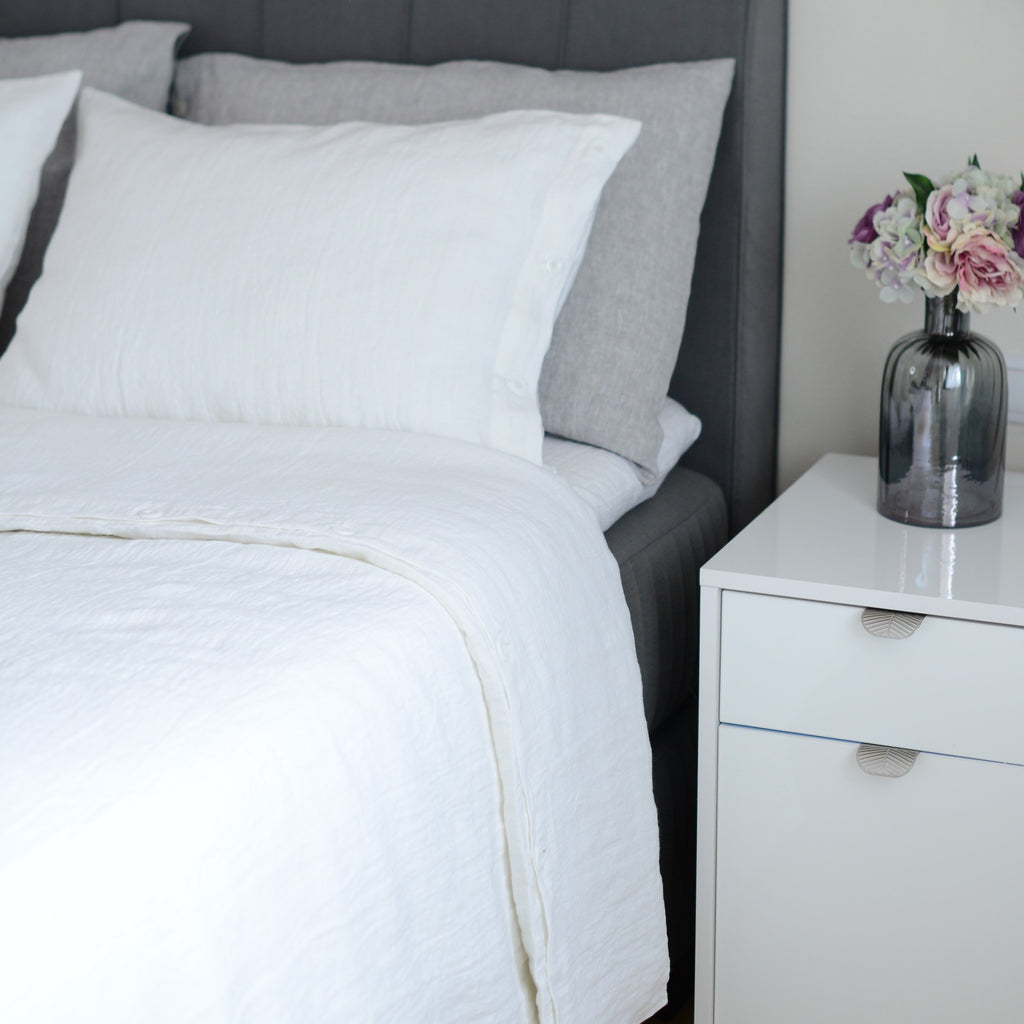 Luxury Soft White Linen 100% Linen Duvet Cover with Buttons