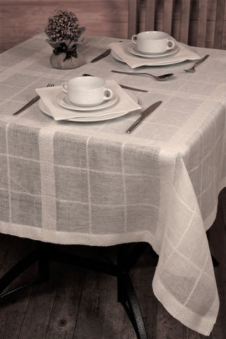 Linen Tablecloth Boucle, plaid