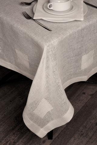 Linen tablecloth Boucle with square
