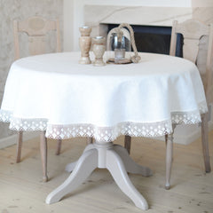 Round Tablecloth with Lace White