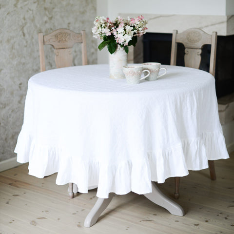 Round Linen Ruffle Tablecloth (white, natural, old rose, gray)