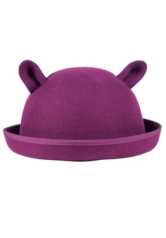 Cat Ear Bowler - Plum