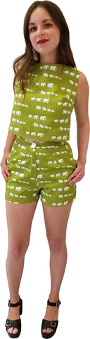 High Waist Shorts - Green Elephant