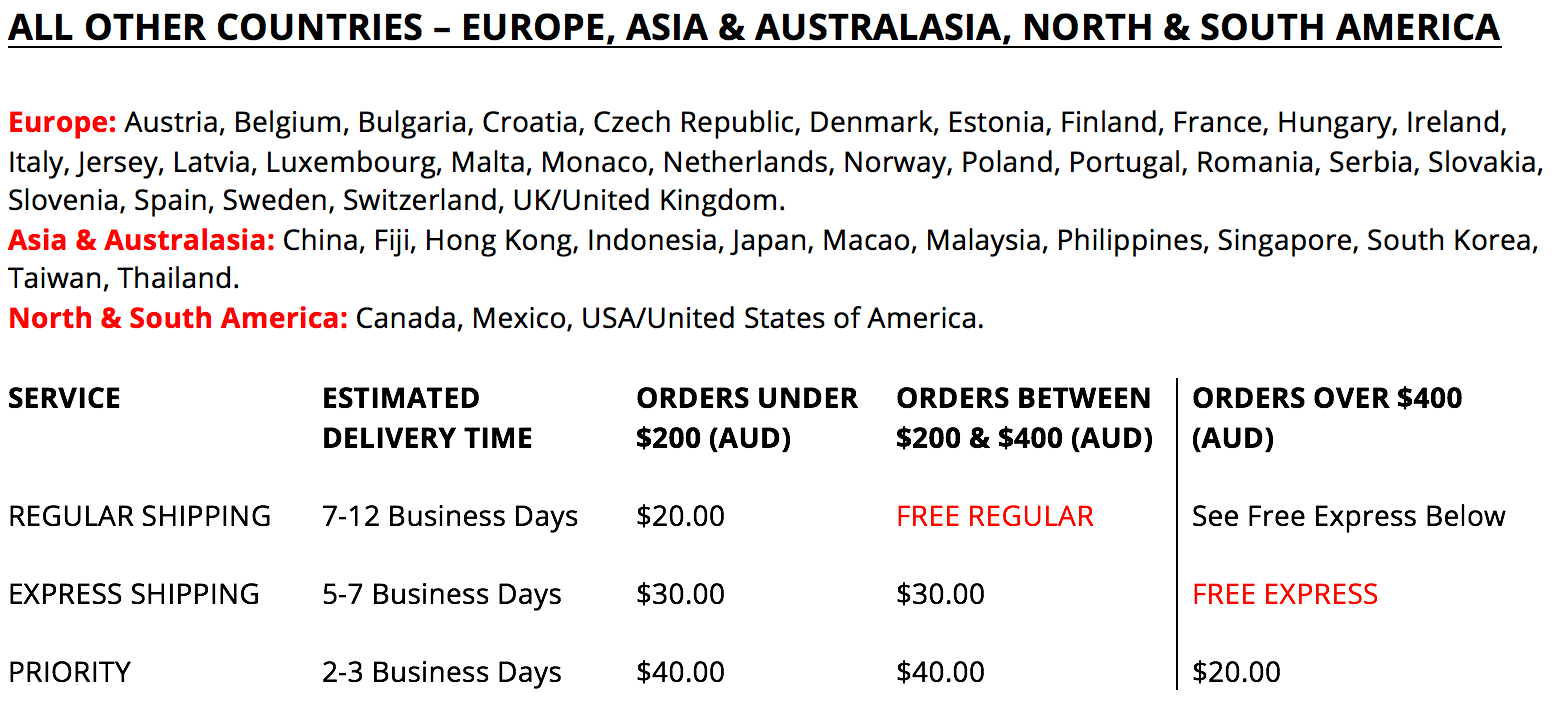 A&N Boutique - All Other Countries Delivery Rates & Times