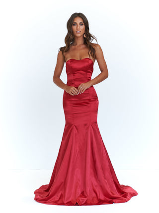 A&N Sonika - Deep Red Strapless Satin Gown with Mermaid Train