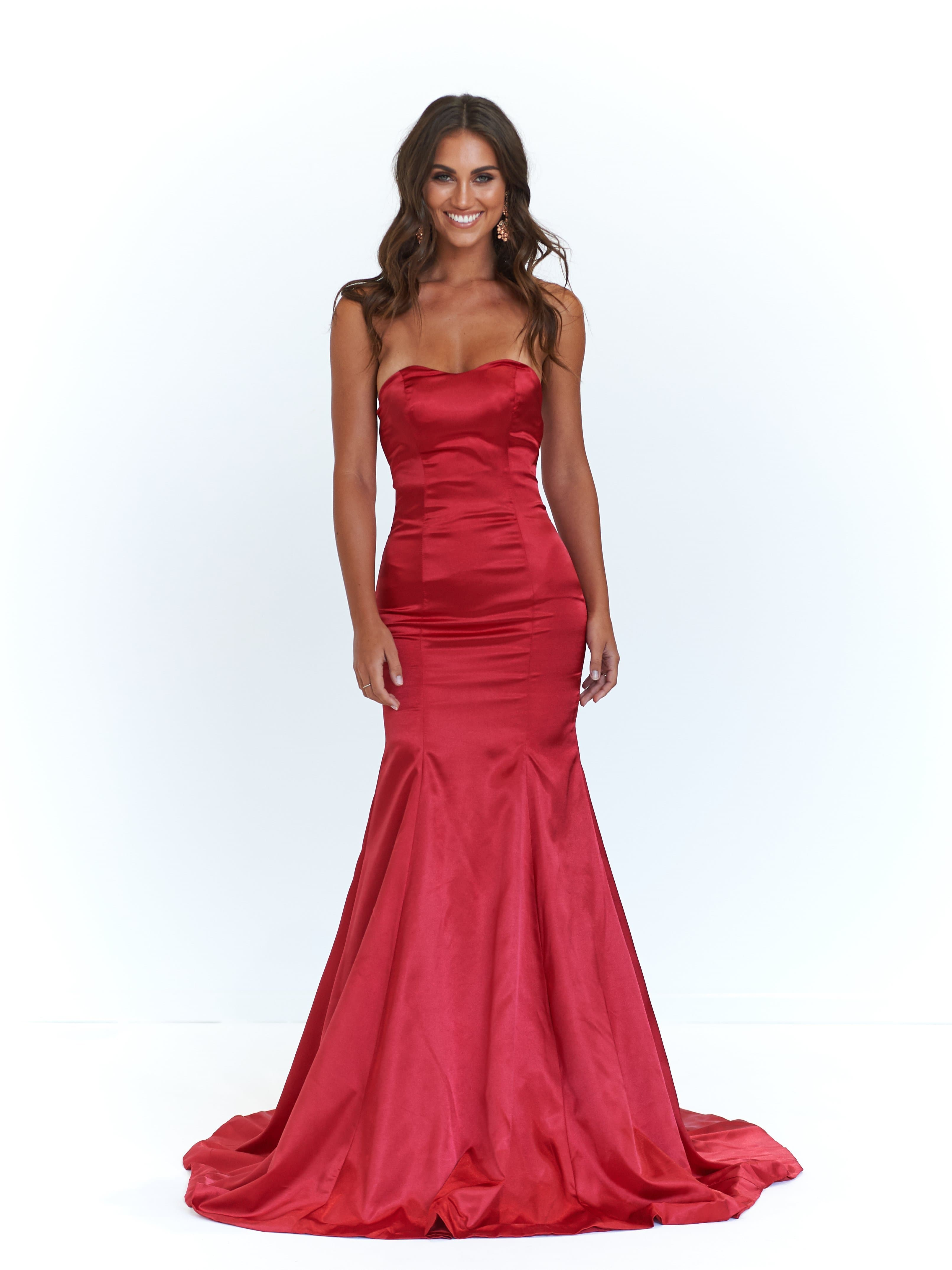 A&N Sonika - Deep Red Strapless Satin Gown with Mermaid Train – A&N ...