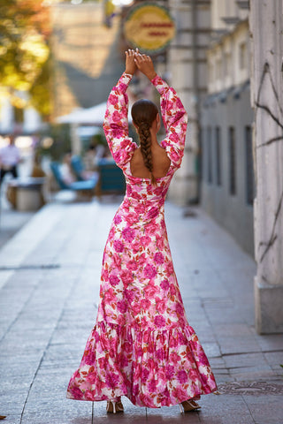 Melia Dress - Floral Pink Maxi with Long Sleeves & Straight Neckline