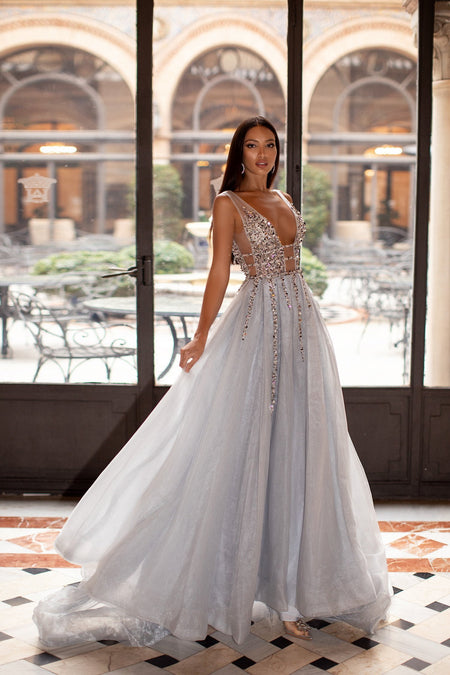 Estafania Beaded Tulle Gown - Baby Blue