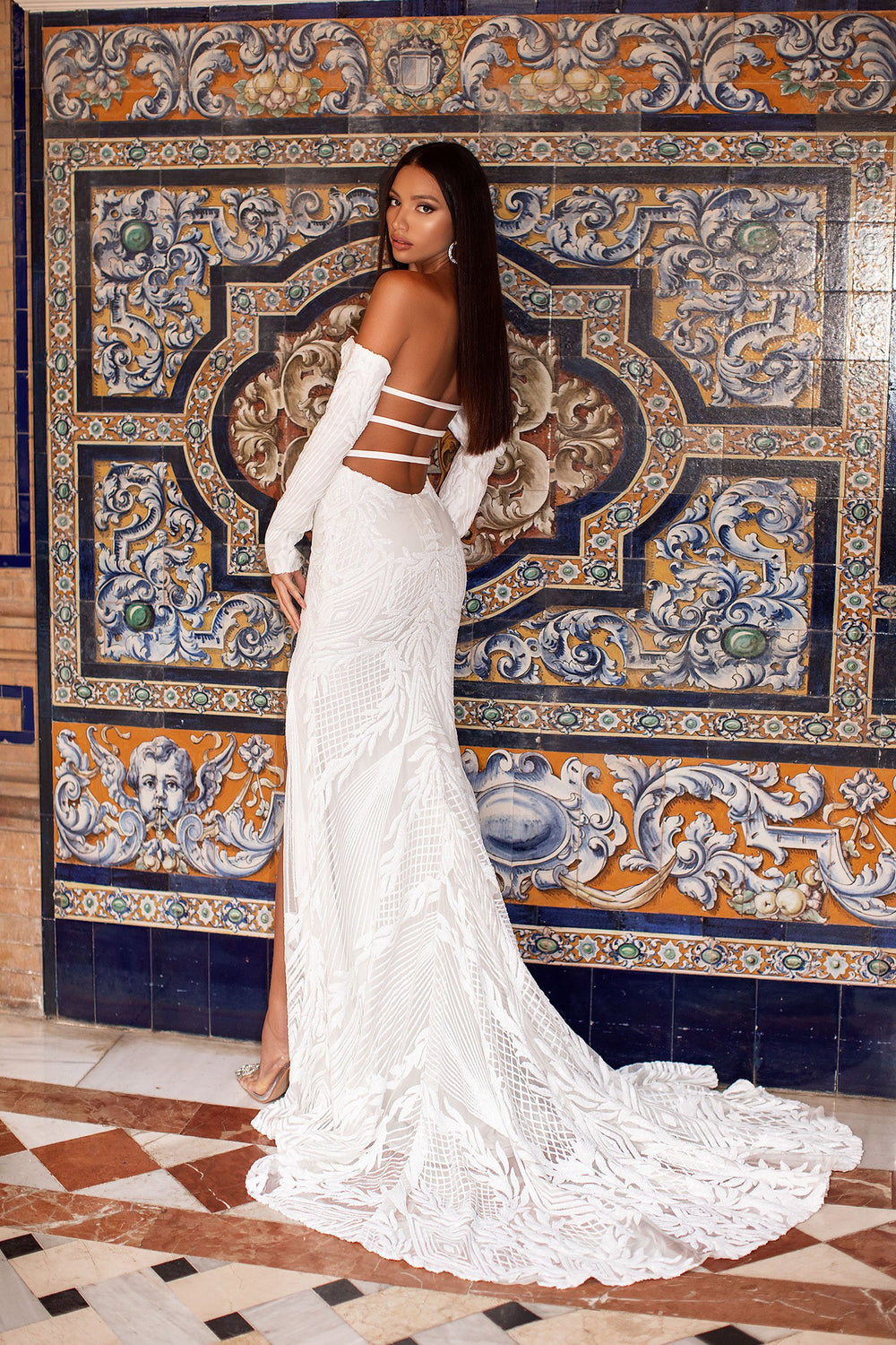 Zeni - White Off-Shoulder Long Sleeve Sequin Gown with Strappy Back