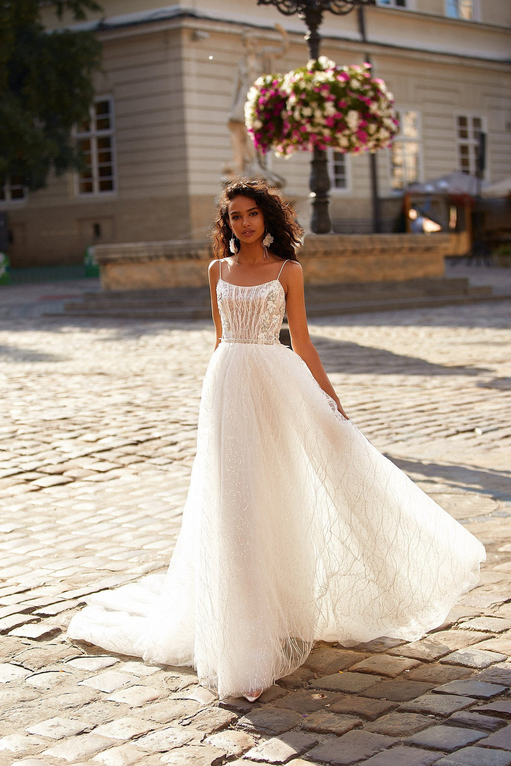 A&N Hera - White Tulle Beaded Boho Bridal Gown with Scoop Neck