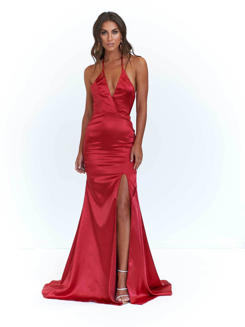 676aa07b88 A N Alyssa- Deep Red Satin Gown with Plunge Neckline and Side Slit ...