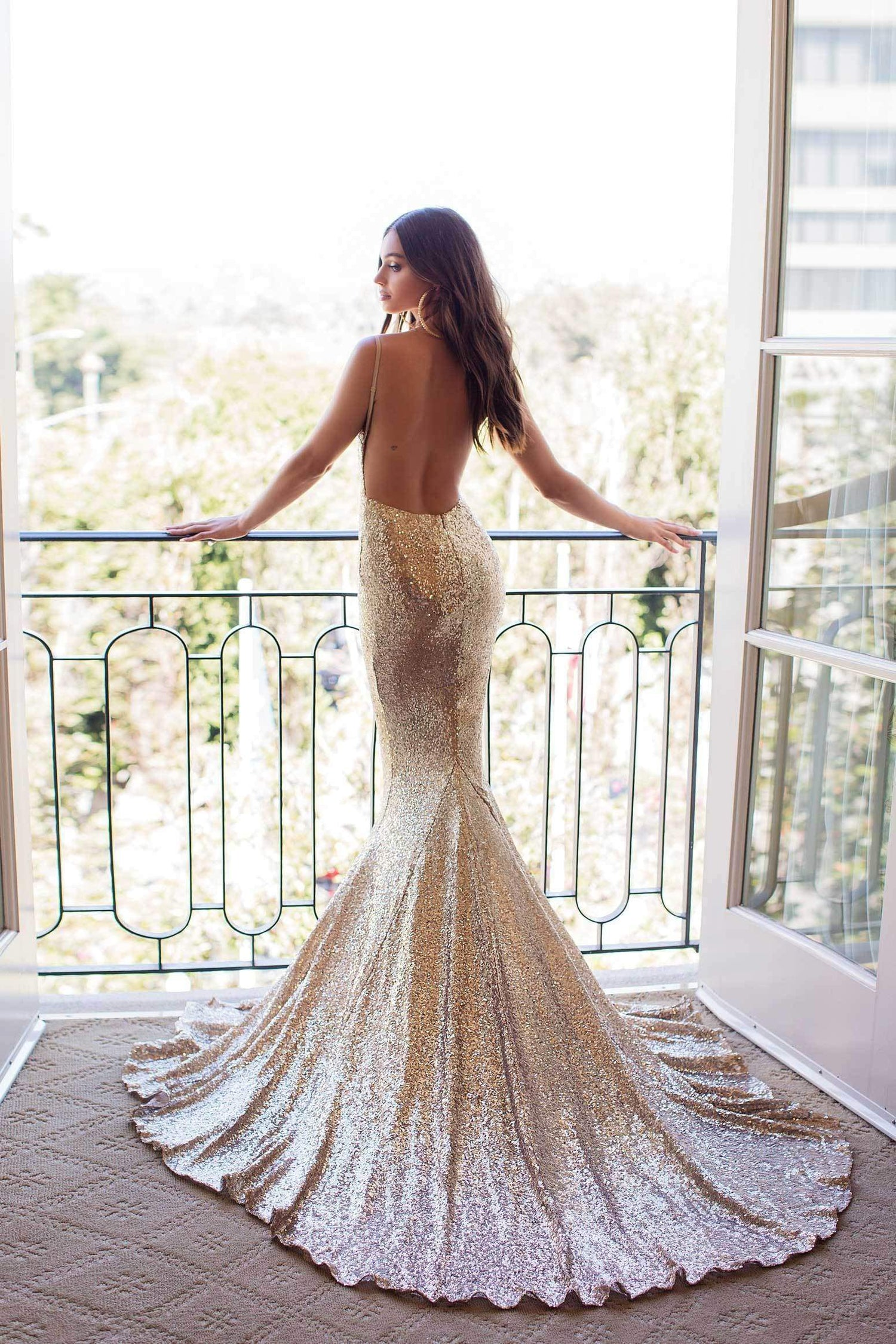 f840c1e7 Yassmine Luxe - Copper Gold Backless Sequin Gown with Mermaid Train ...