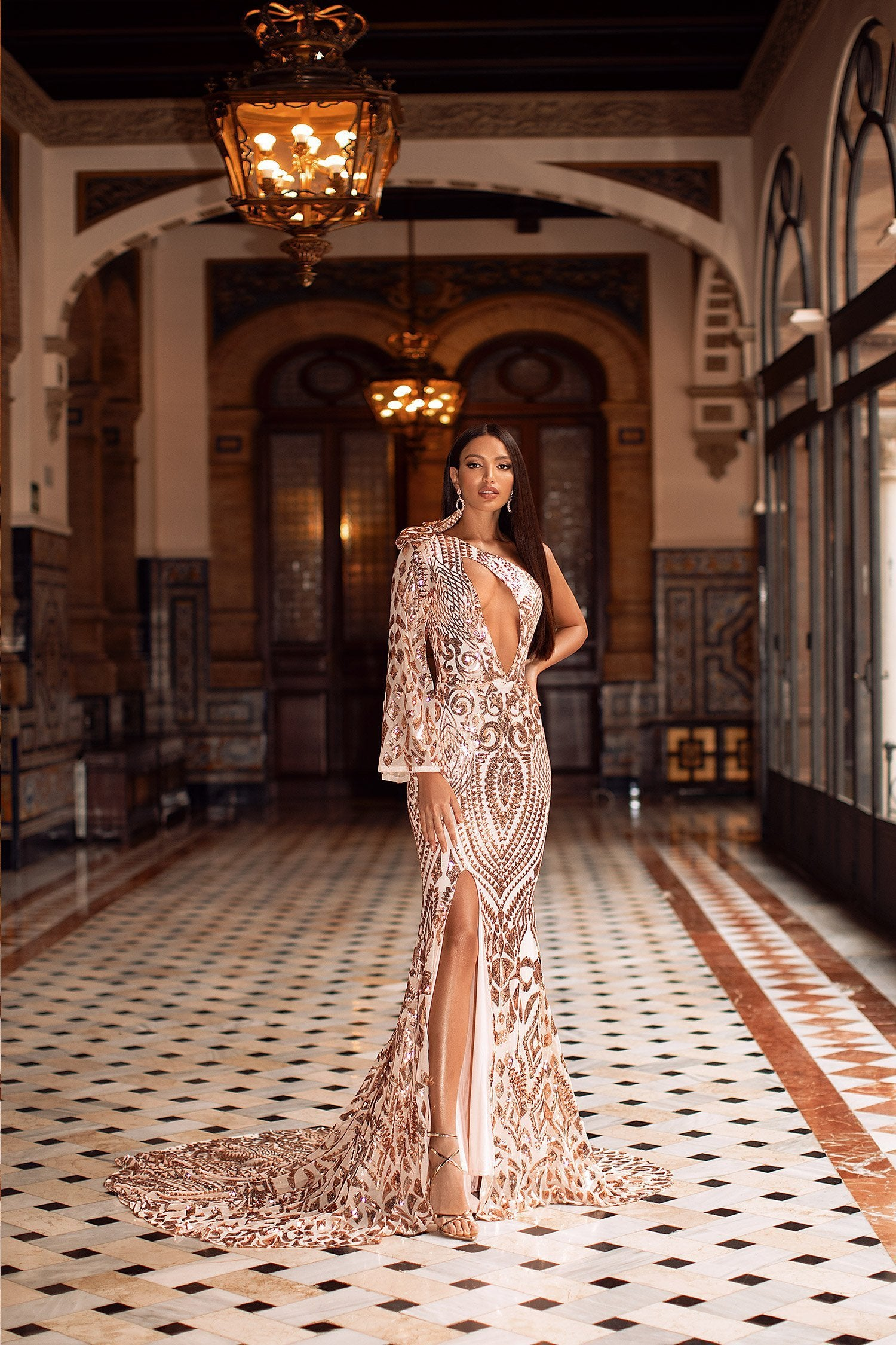 Iza - Rose Gold Sequin One-Shoulder Gown with Cut-Out Detail & Slit