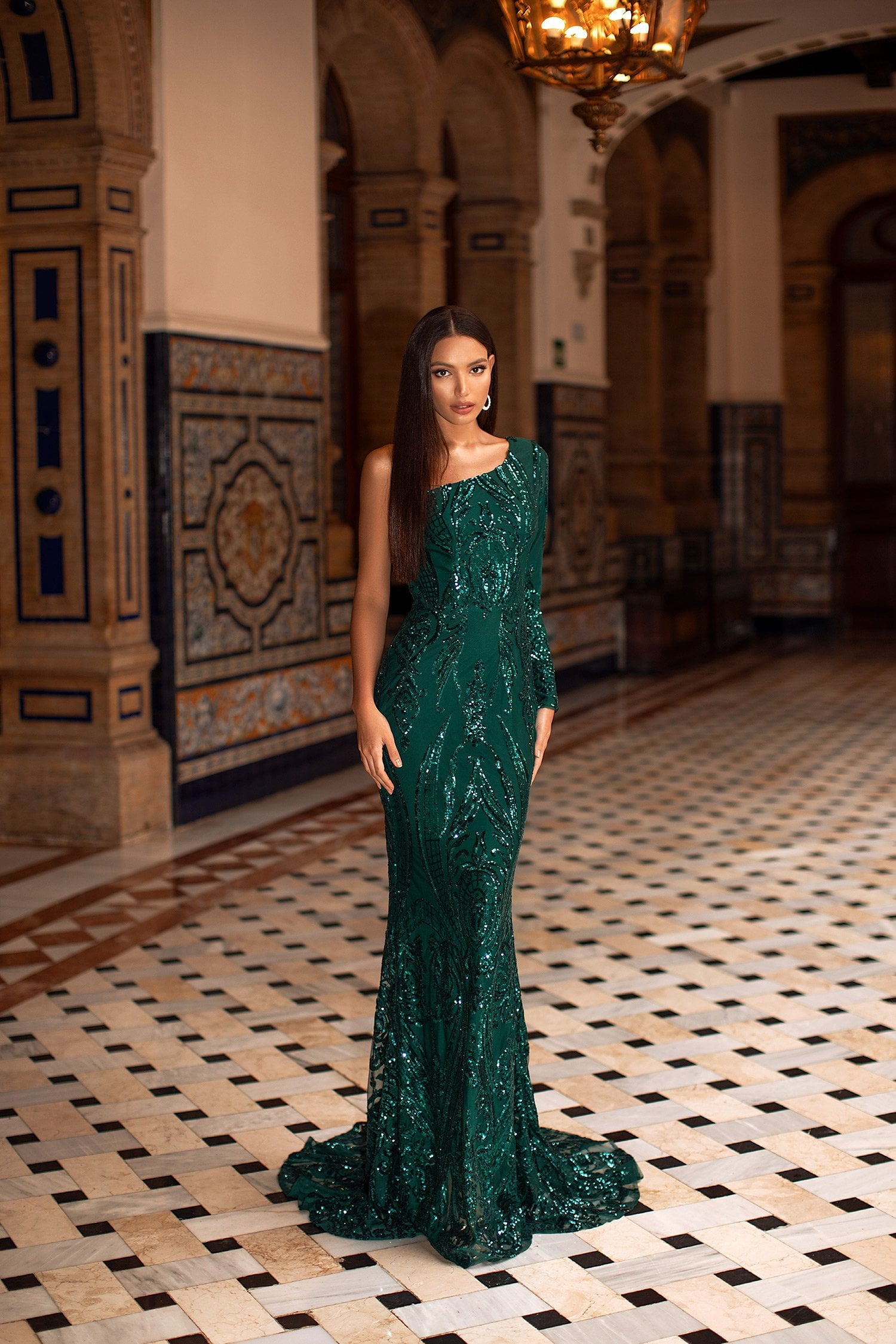 Jaime - Emerald Sequin One Shoulder Gown with Mermaid Train