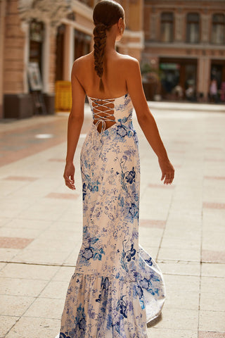 Akela Dress - Blue & White Floral Strapless Maxi with Lace-Up Back