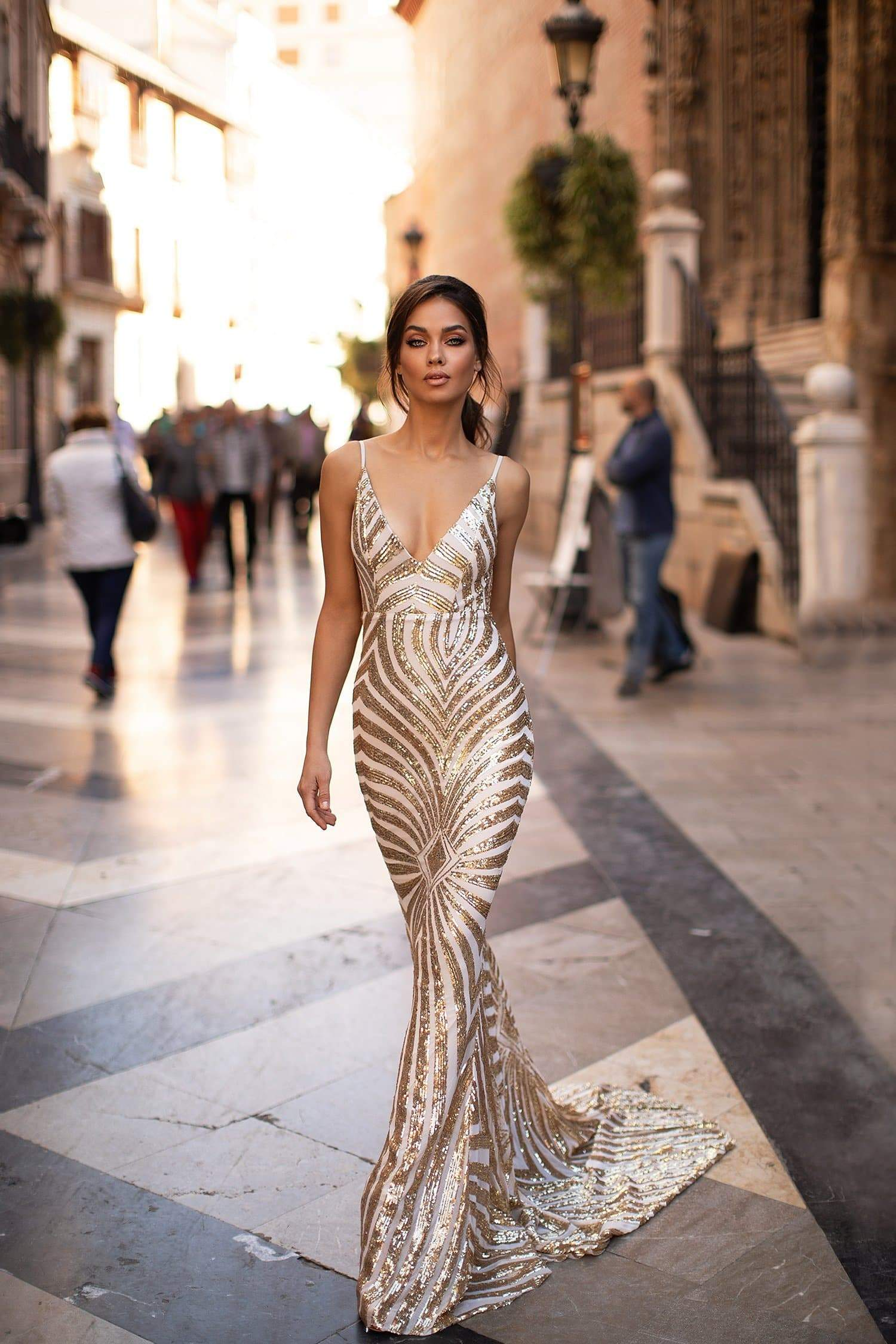 A&N Justina - Gold Patterned Sequin Gown with Plunge Neck and Low Back