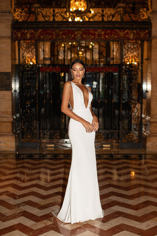 Inesa - White Backless Satin Gown with Plunge Neckline